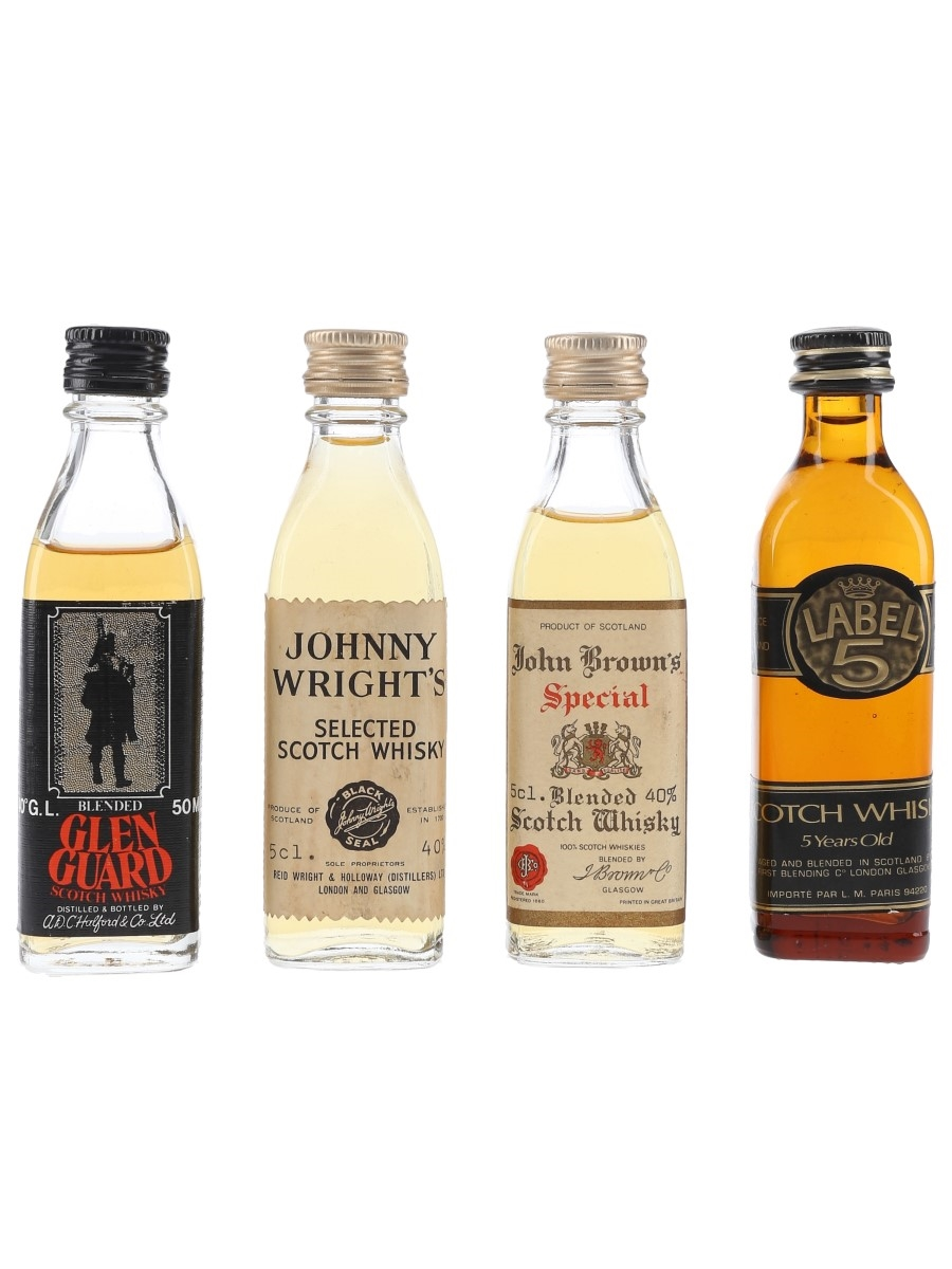 Glen Guard, John Brown, Johnny Wright & Label 5 Bottled 1980s 4 x 5cl / 40%