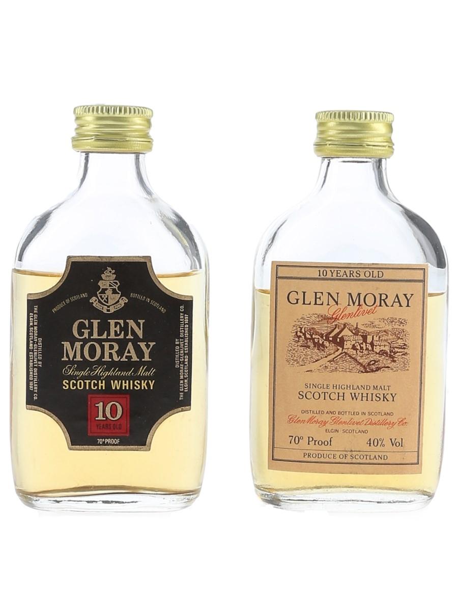 Glen Moray 10 Year Old Bottled 1970s & 1980s 2 x 5cl / 40%