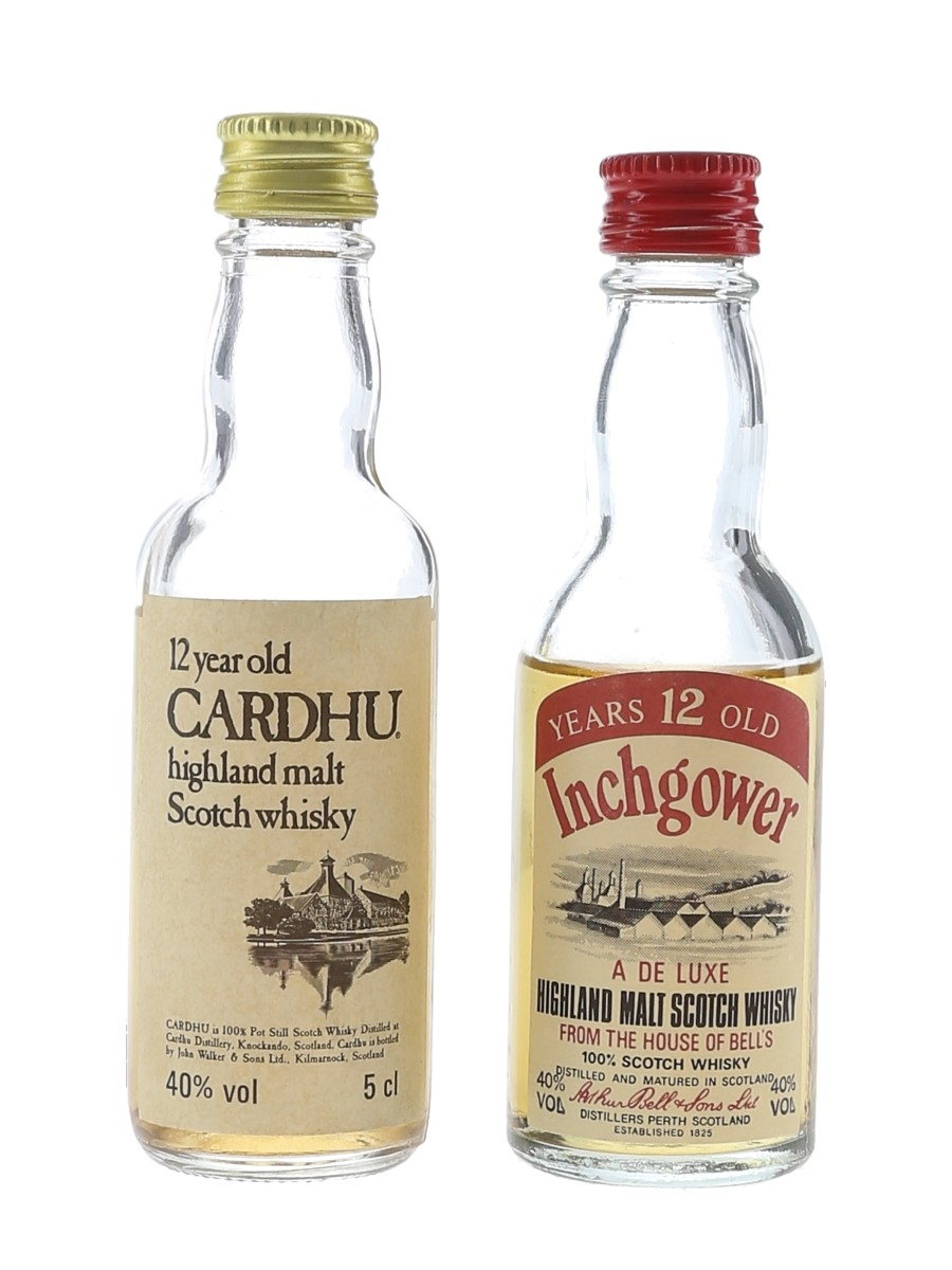 Cardhu & Inchgower 12 Year Old Bottled 1980s 2 x 5cl / 40%