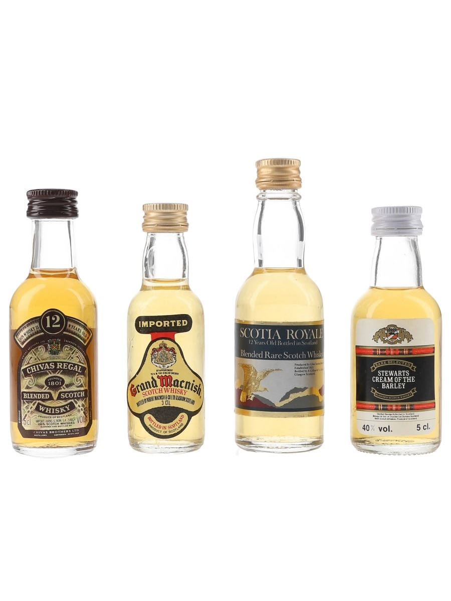 Assorted Blended Whisky Chivas Regal, Grand Marnier, Scotia Royale, Stewarts Cream Of The Barley 4 x 3cl-5cl