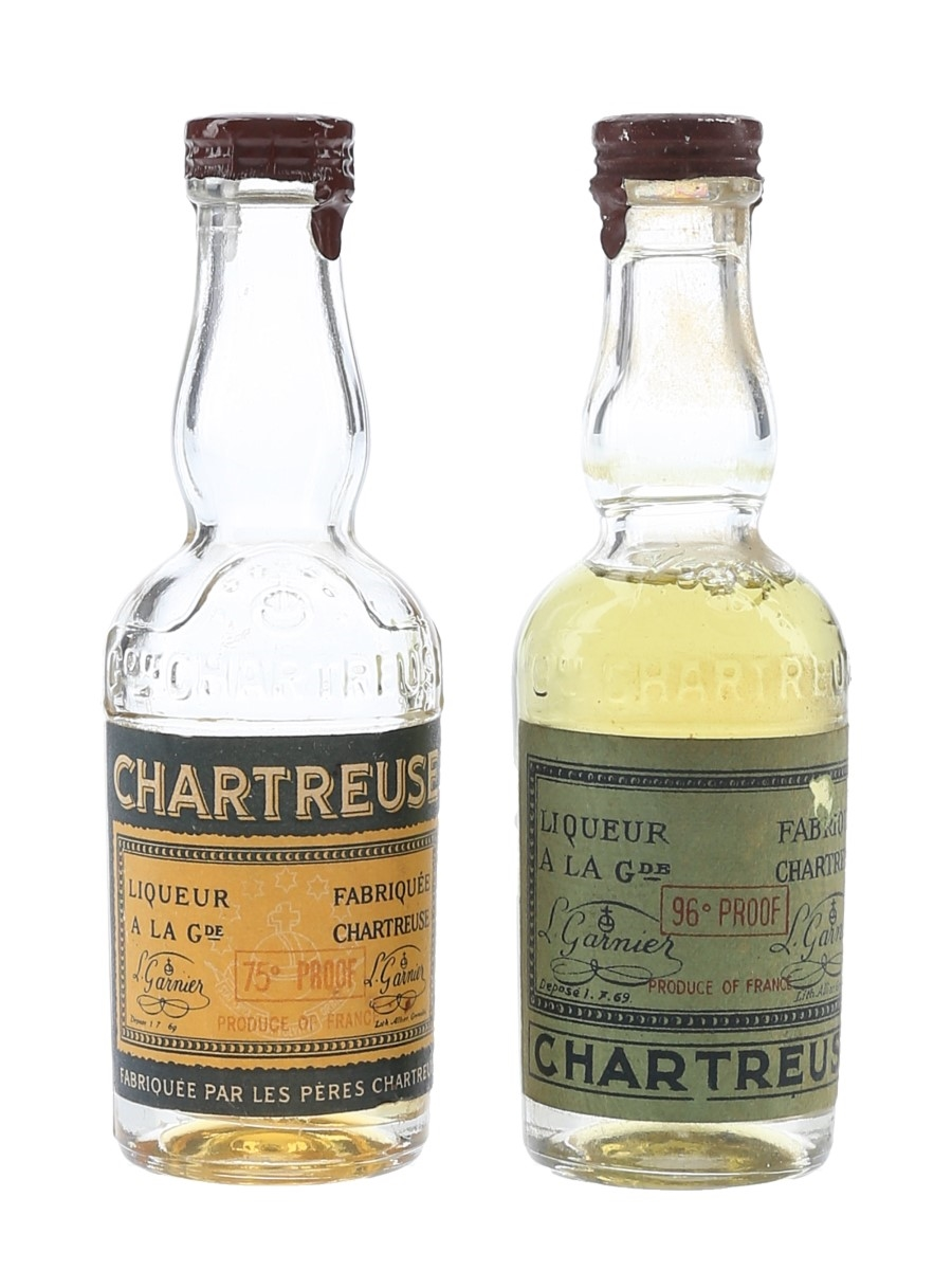 Chartreuse Green & Yellow Bottled 1950s-1960s 2 x 3cl