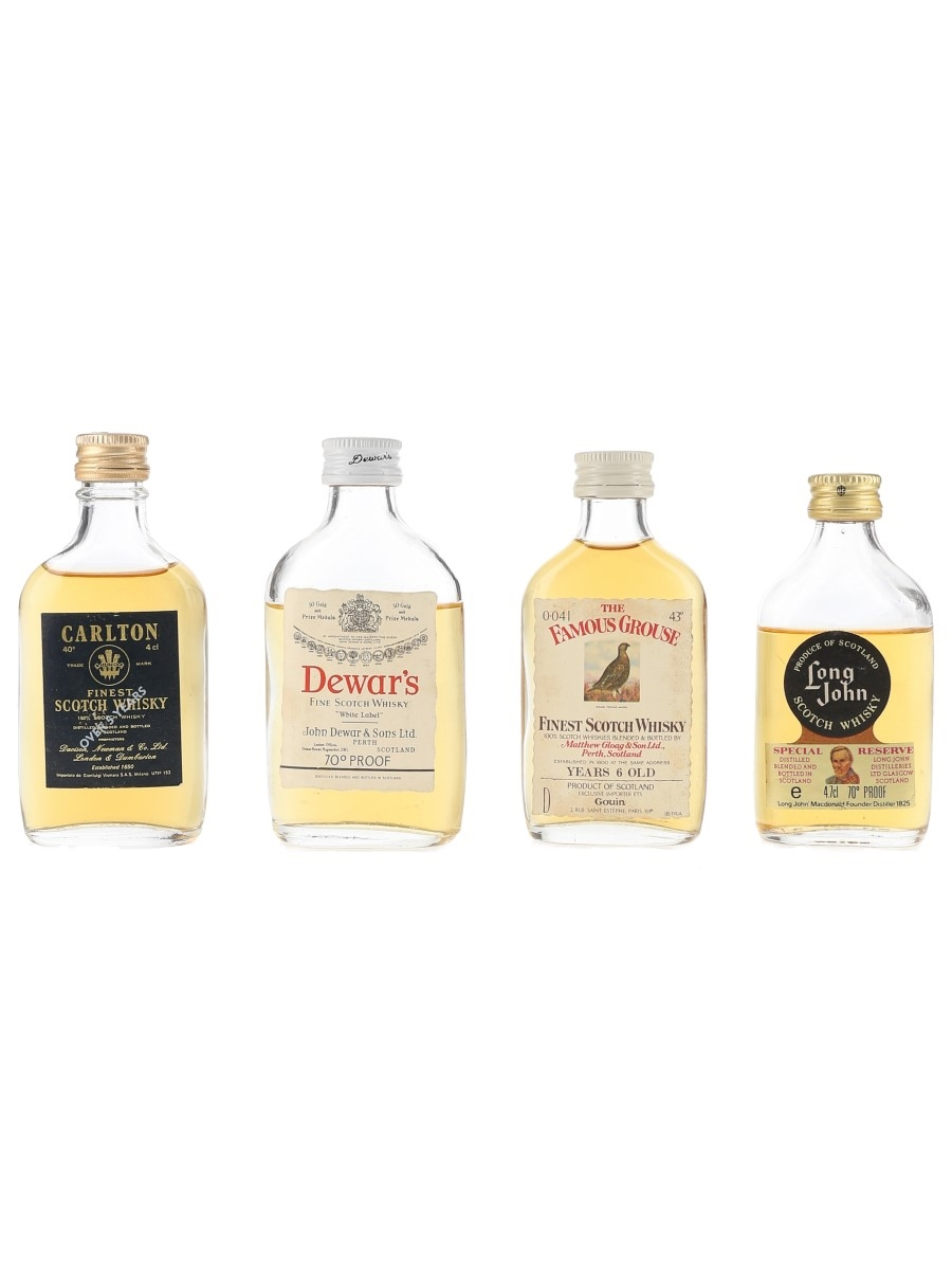 Assorted Blended Scotch Whisky Carlton, Dewar's, Famous Grouse & Long John 4 x 4cl-5cl
