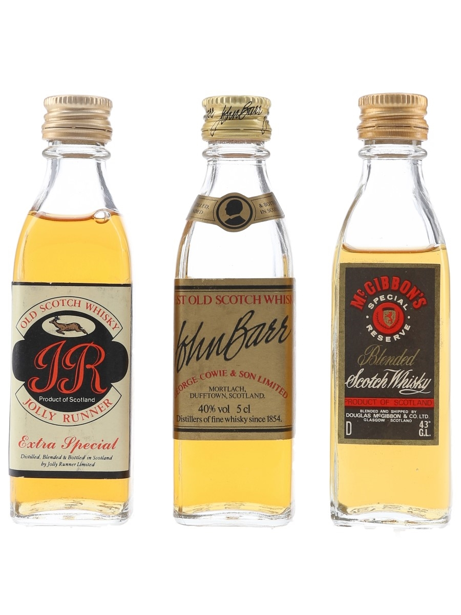 John Barr, Jolly Runner & McGibbon's Bottled 1980s 3 x 5cl