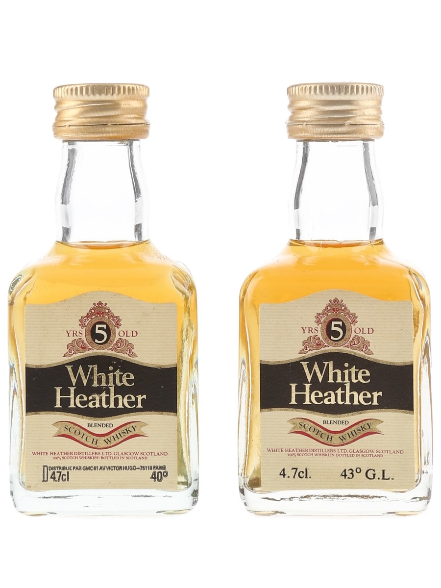 White Heather 5 Year Old Bottled 1980s 2 x 4.7cl