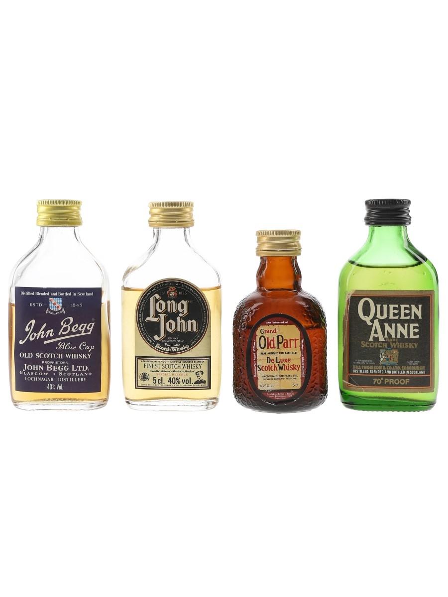 Assorted Blended Whisky Grand Old Parr, John Begg, Long John & Queen Anne 4 x 5cl
