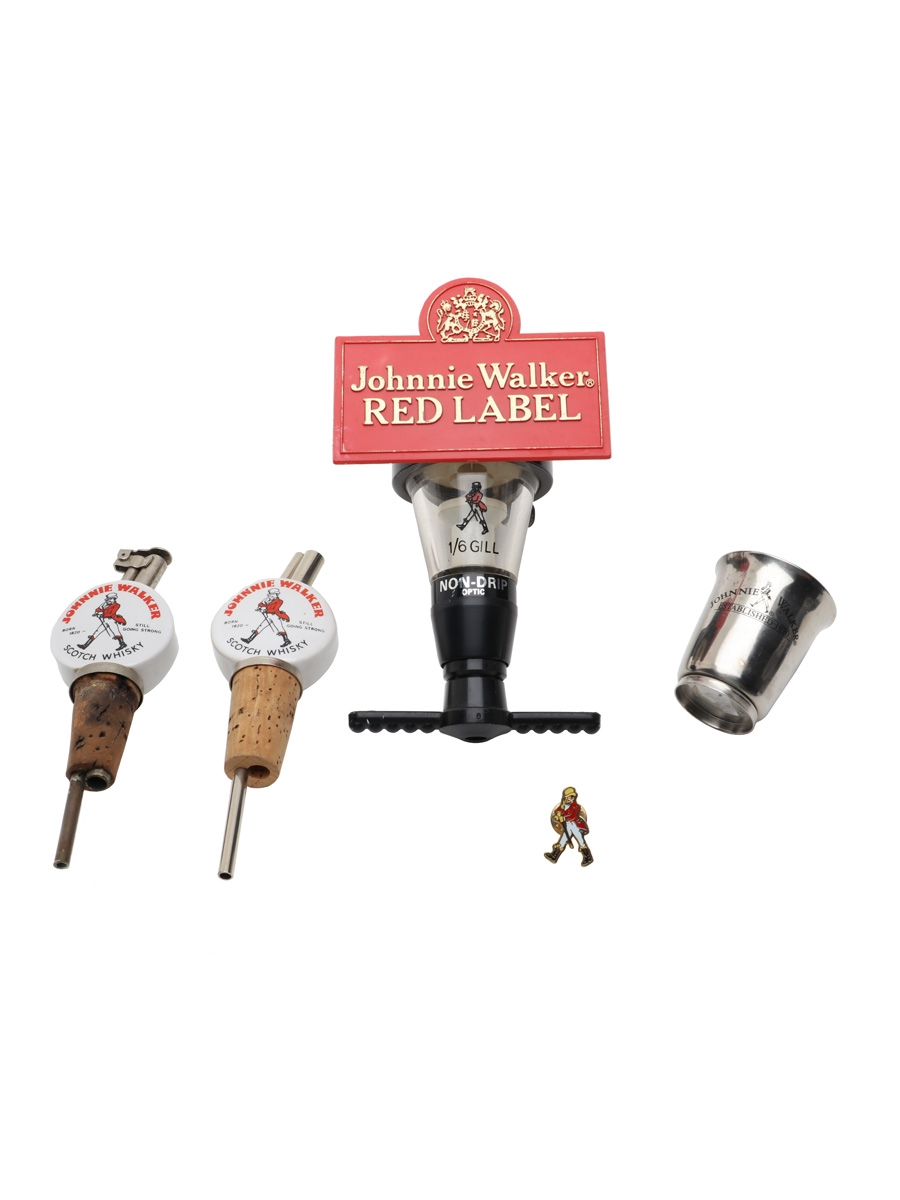 Assorted Johnnie Walker Memorabilia Bar Optic, Cup, Pin Badge & Pourer