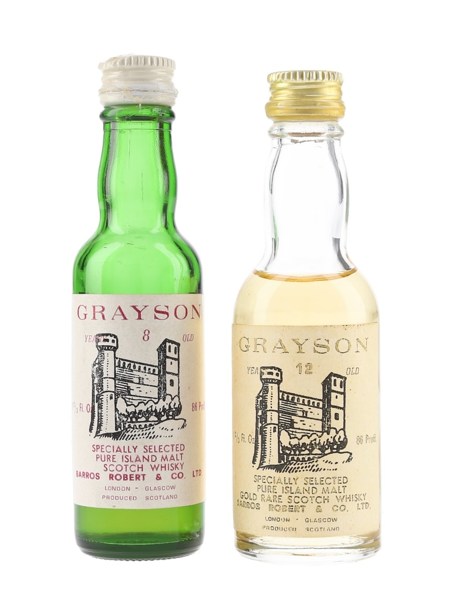 Grayson 8 & 12 Year Old Pure Island Malt Bottled 1970s 2 x 4.7cl / 43%