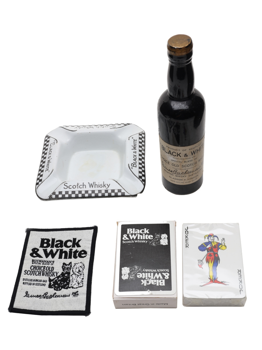 Assorted Buchanan's Black & White Memorabilia Ashtray, Clothes Brush, Embroidered Patch & Playing Cards