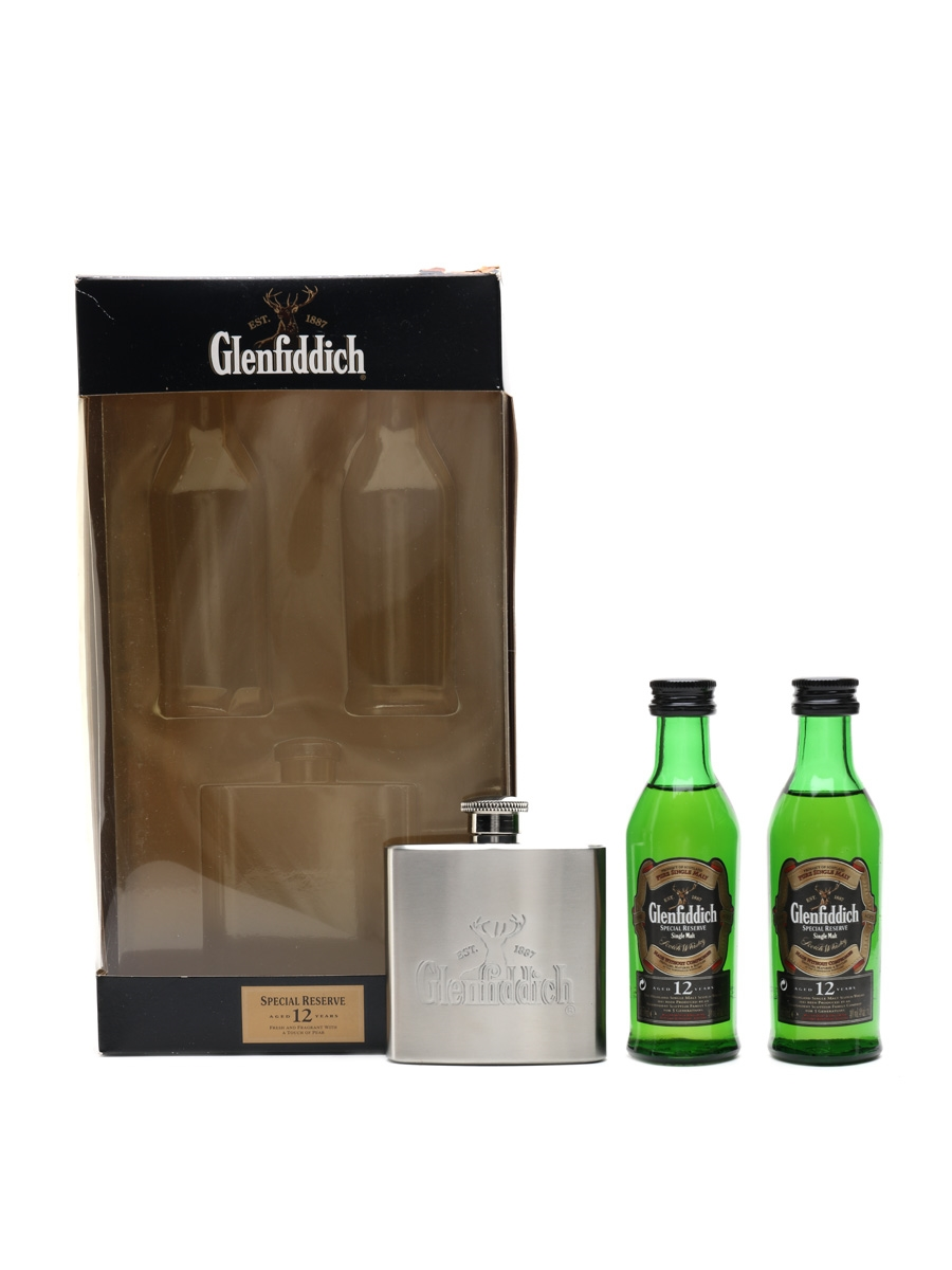 Glenfiddich Single Malt & Hip Flask Gift Pack 12 Year Old Special Reserve 2 x 5cl / 40%