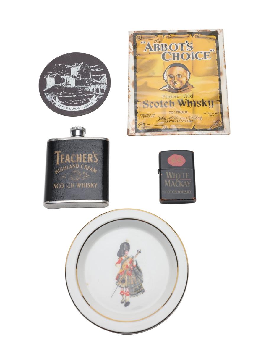 Assorted Blended Scotch Whisky Memorabilia Abbot's Choice, Dewar's, Teacher's, Whyte & Mackay