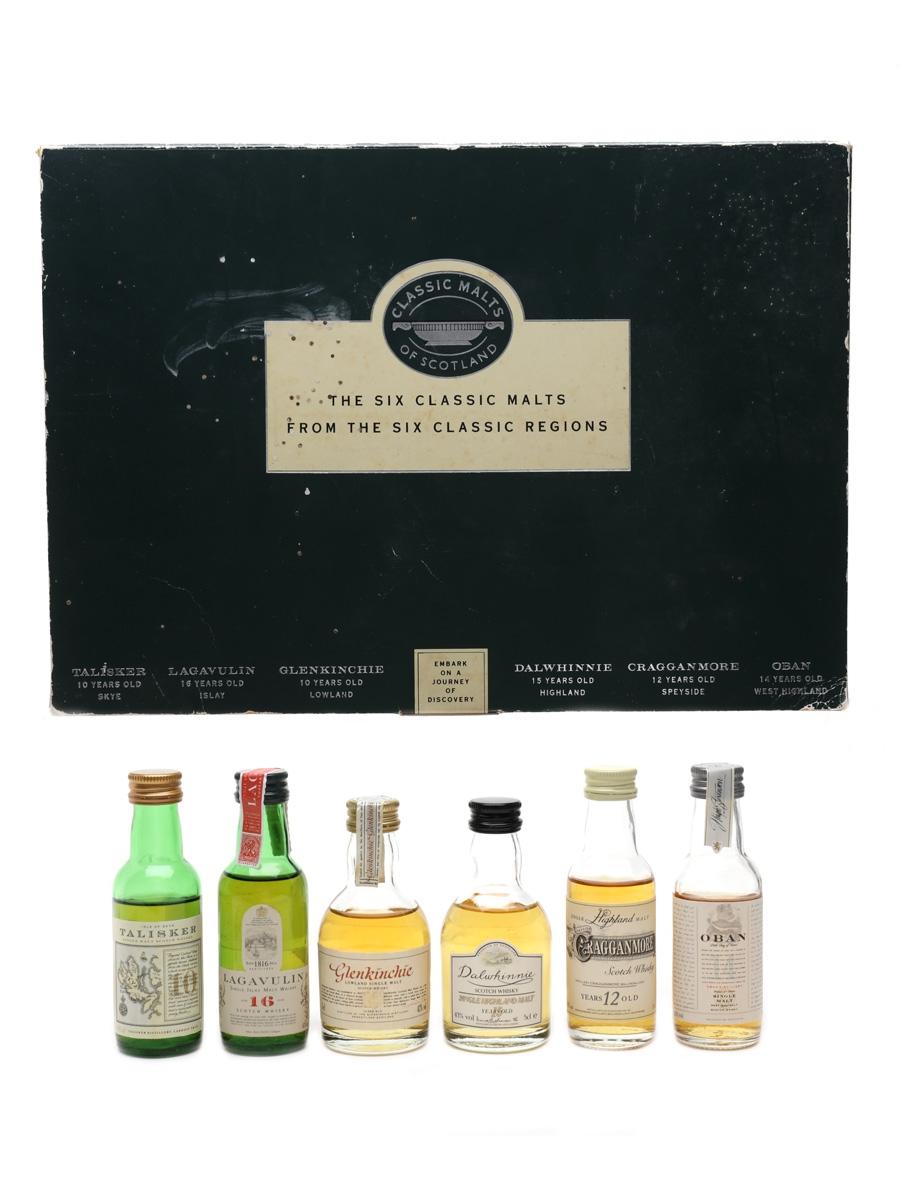 Classic Malts Of Scotland Miniatures Set Talisker, Oban, Glenkinchie, Dalwhinnie, Lagavulin (White Horse), Cragganmore 6 x 5cl