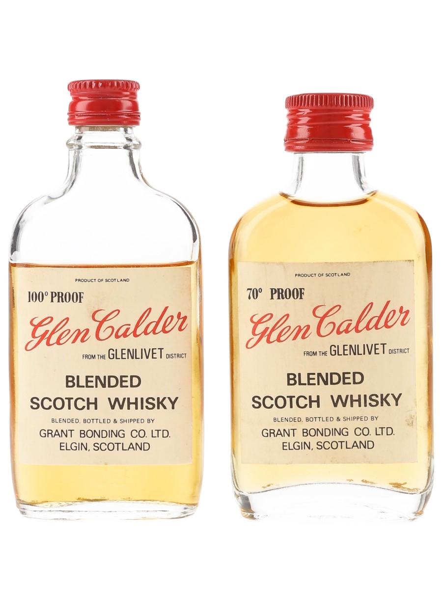 Glen Calder 70 & 100 Proof Bottled 1960s-1970s 2 x 5cl