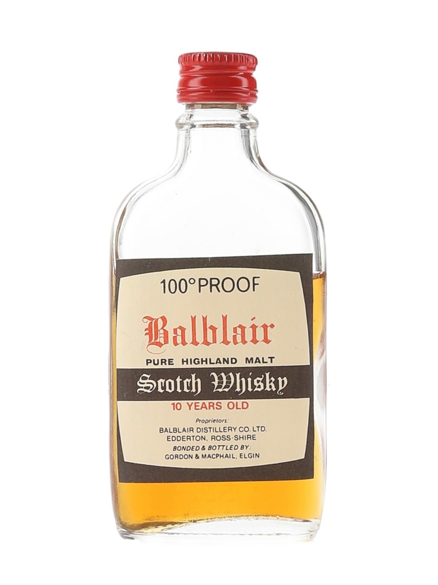 Balblair 10 Year Old 100 Proof Bottled 1970s - Gordon & MacPhail 5cl / 57%