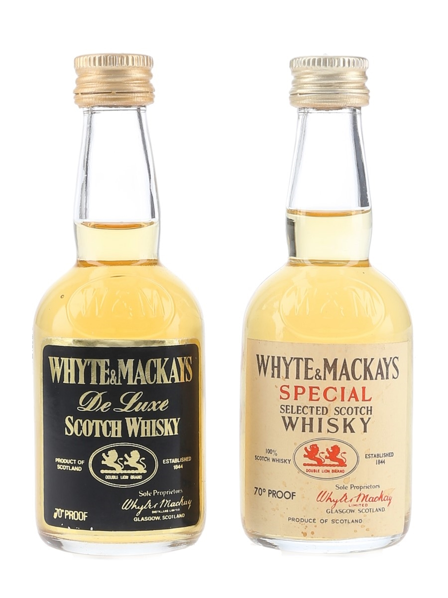Whyte & Mackays De Luxe & Special Bottled 1970s 2 x 5cl / 40%
