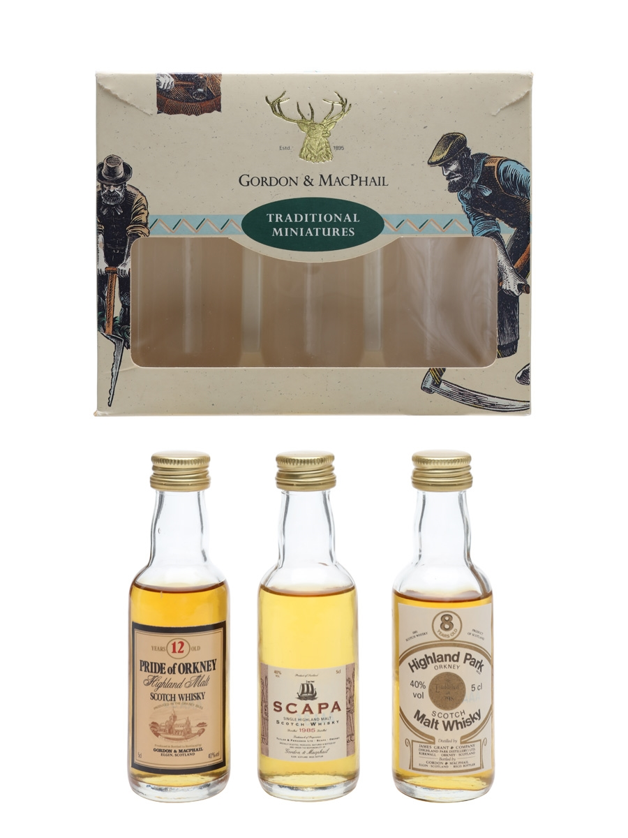 Gordon & MacPhail Traditional Miniatures Highland Park, Pride Of Orkney, Scapa 3 x 5cl / 40%