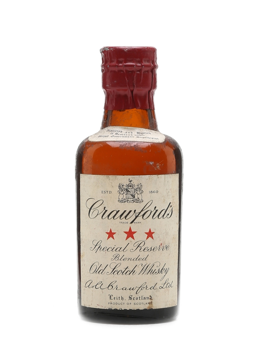 Crawford's 3 Star Scotch Whisky Bottled 1950s Spring Cap 5cl