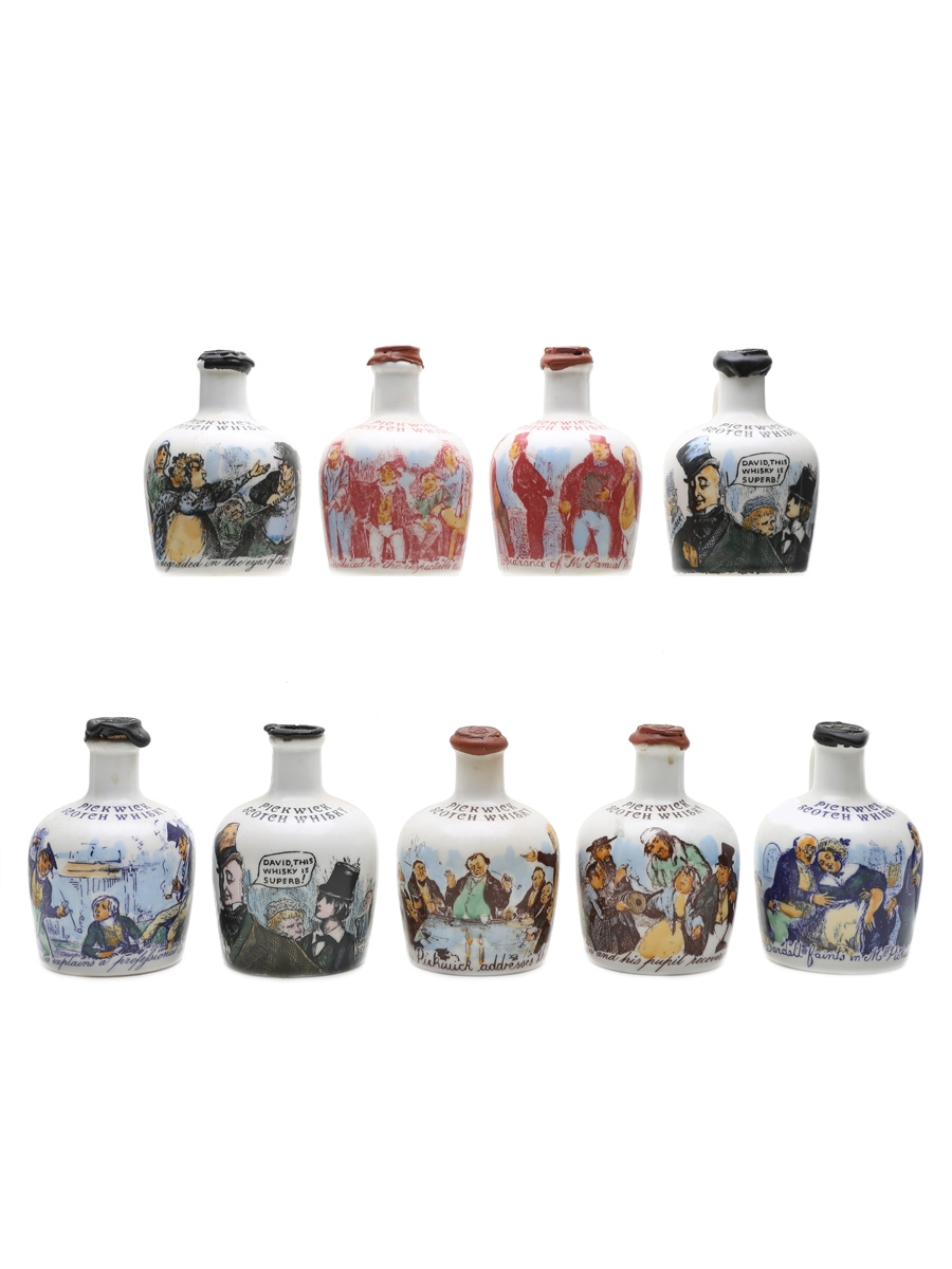 Assorted Pickwick Ceramic Decanters  9 x 5cl