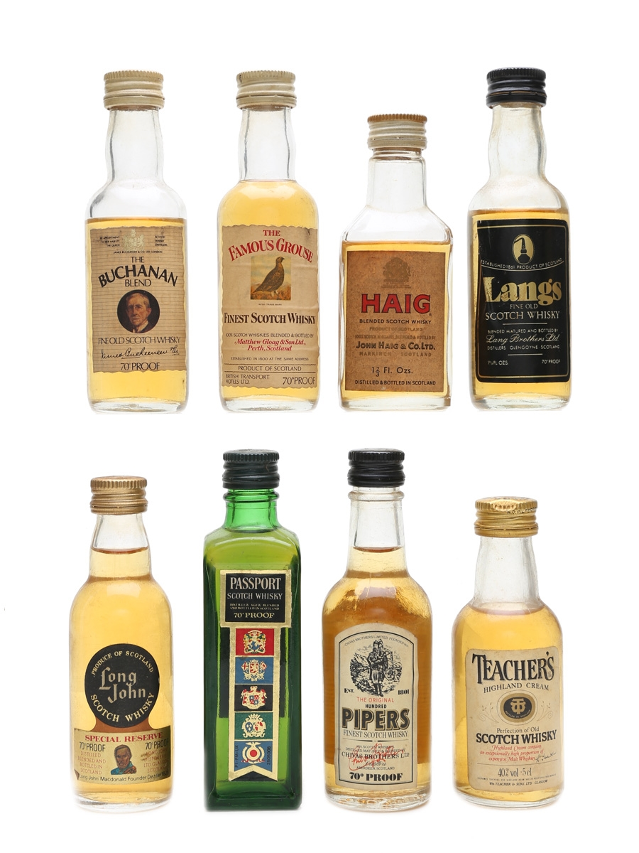 Assorted Blended Scotch Whisky Bottled 1970s 8 x 5cl