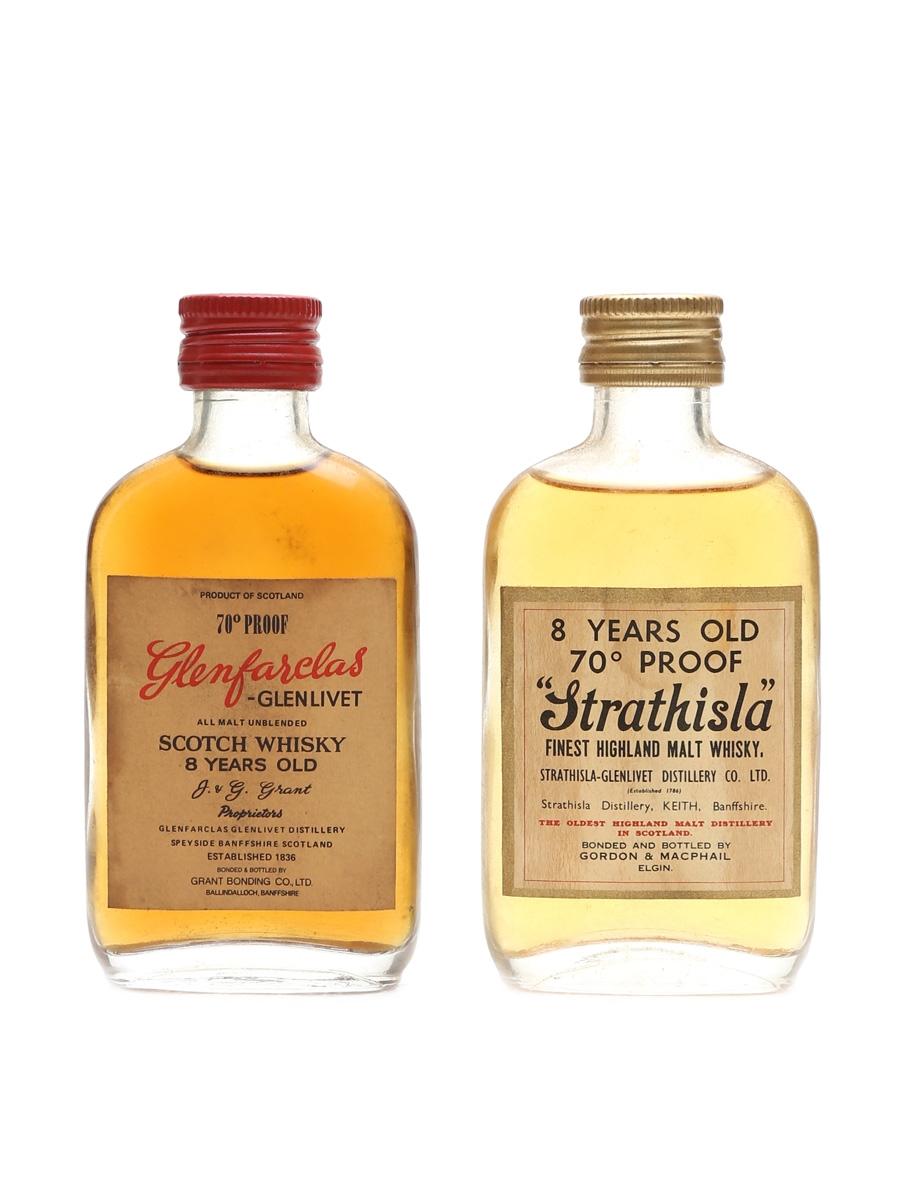 Glenfarclas 8 Year Old & Strathisla 8 Year Old 70 Proof Bottled 1970s 2 x 5cl
