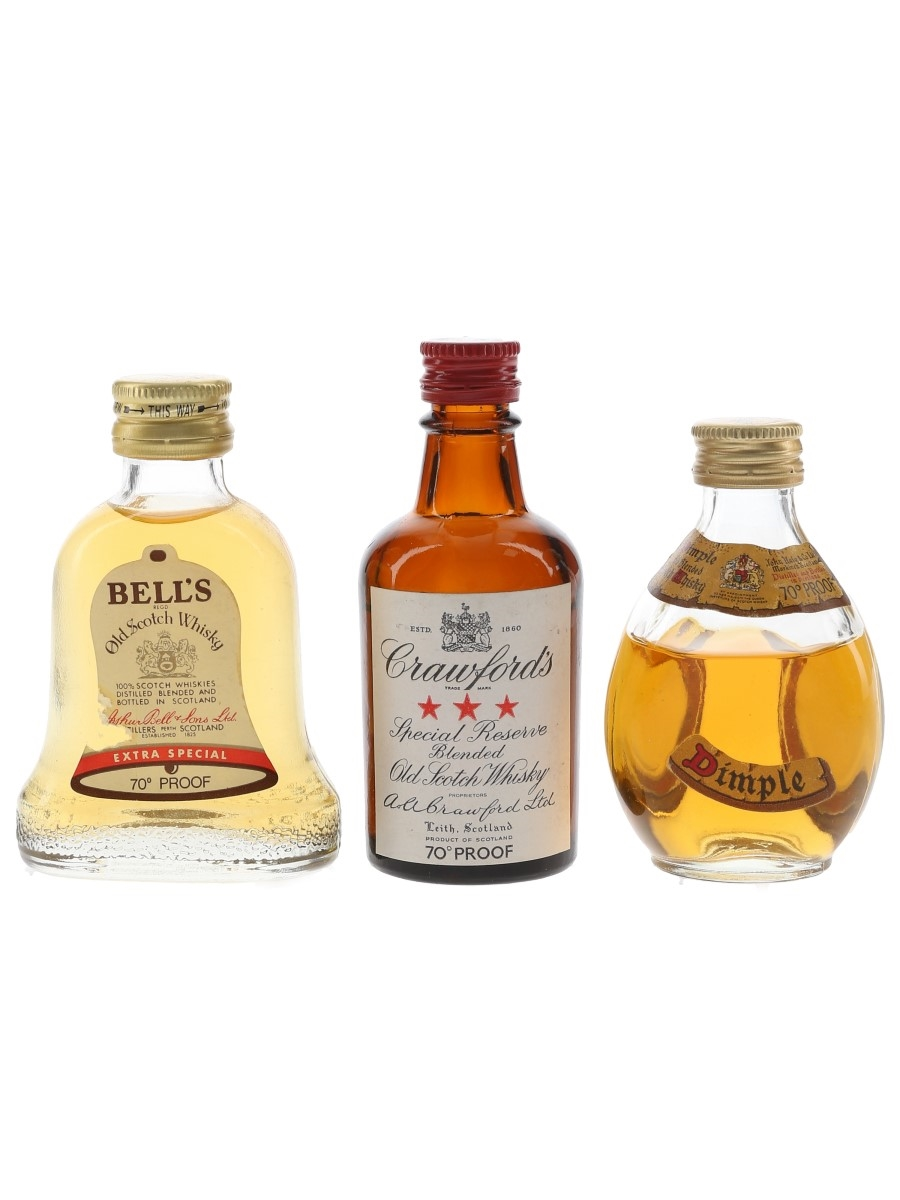 Bell's, Crawford's & Dimple Bottled 1970s 3 x 5cl / 40%