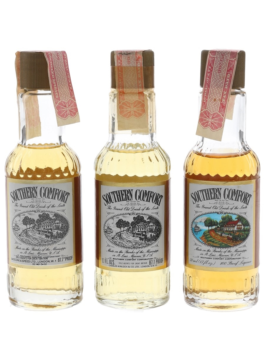 Southern Comfort Bottled 1970s-1980s 3 x 4.4cl-5cl / 50%