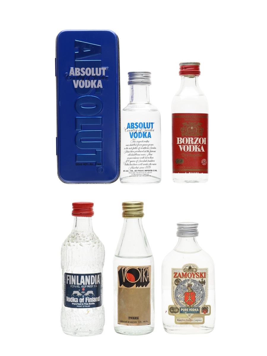 Assorted Vodka Absolut, Borzoi, Finlandia, Tekel & Zamoyski 5 x 5cl