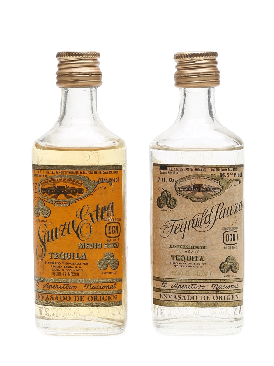 Suaza Extra Tequila Bottled 1970s 2 x 5cl