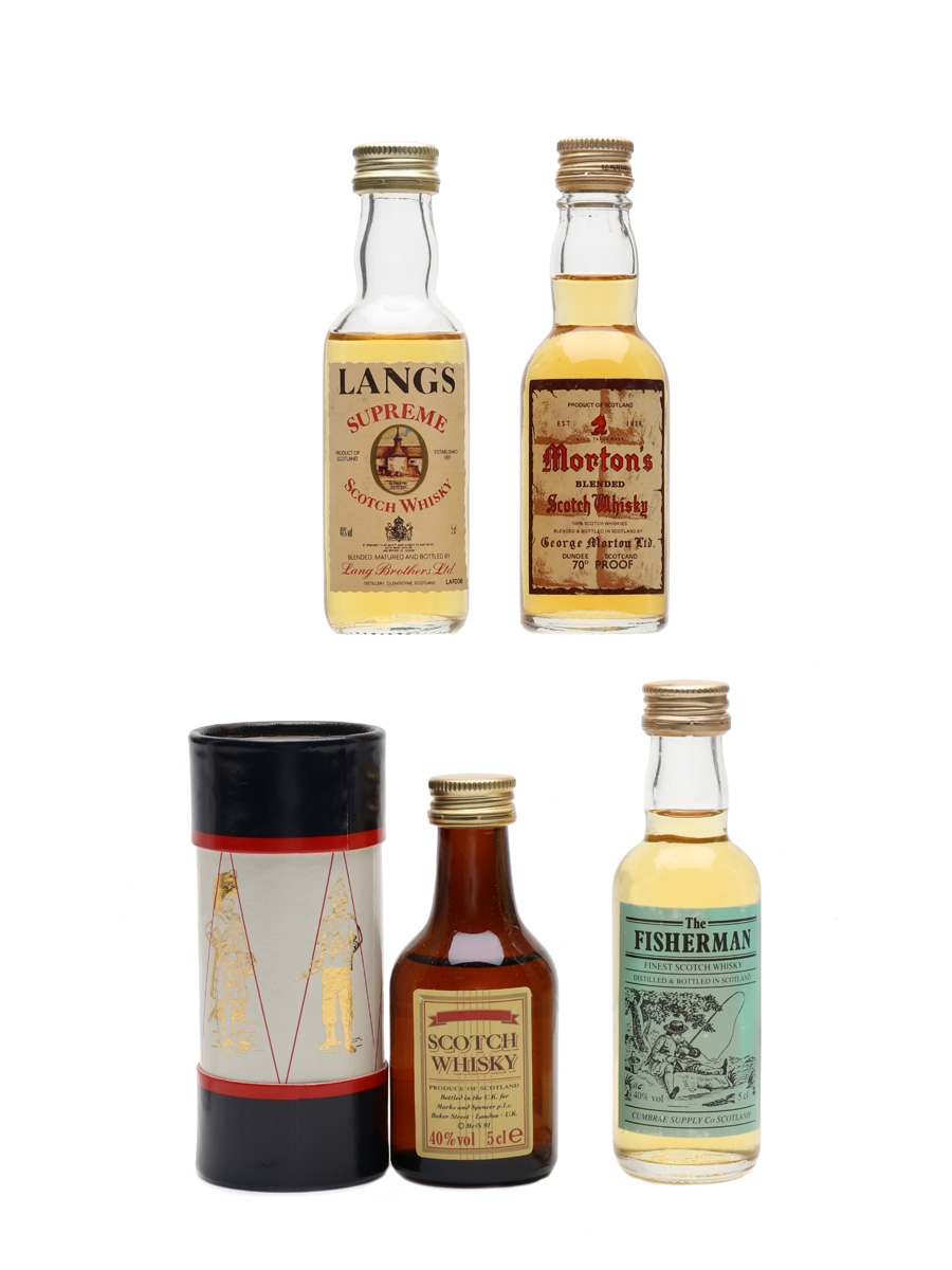 Assorted Blended Whisky Fisherman, Lang's, Morton's & Scotch 4 x 5cl / 40%