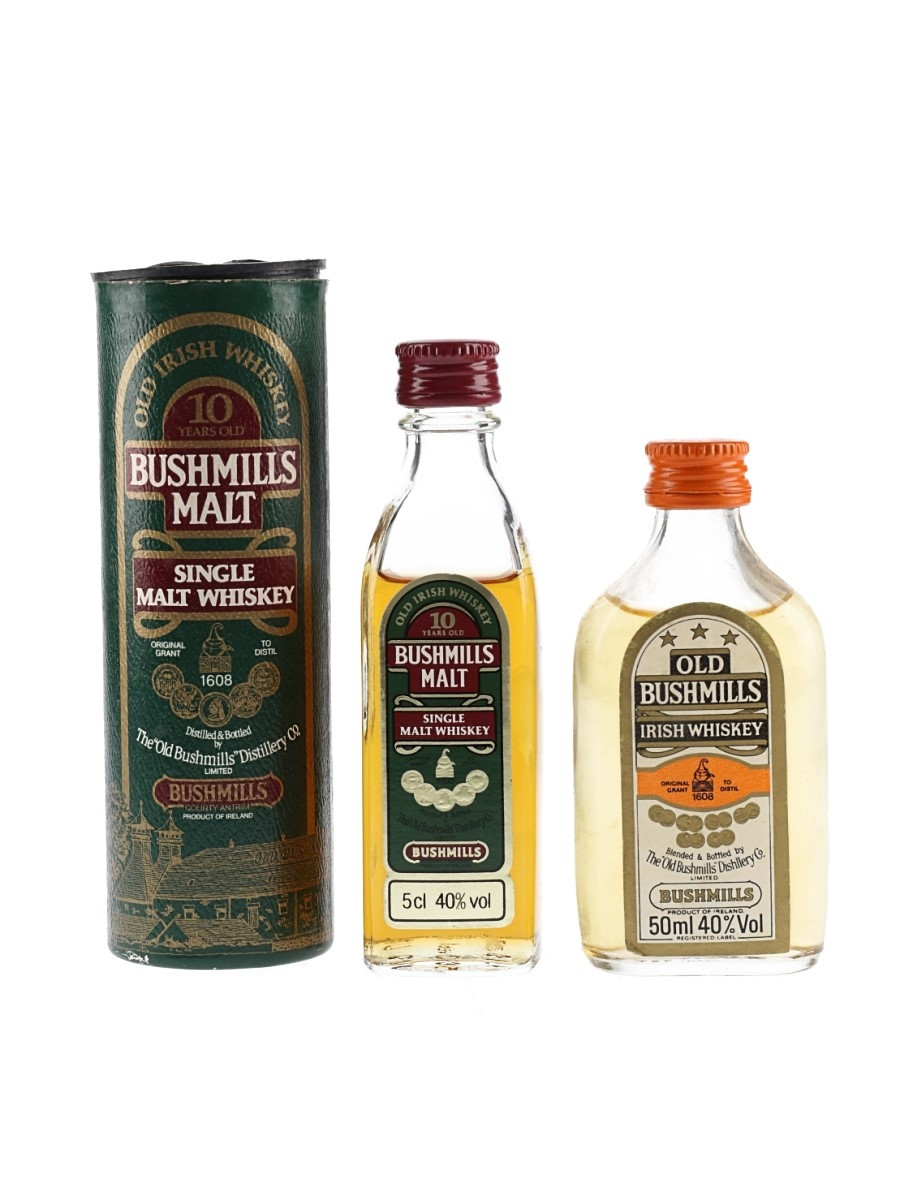 Old Bushmills 3 Star & Bushmills 10 Year Old Bottled 1980s 2 x 5cl / 40%
