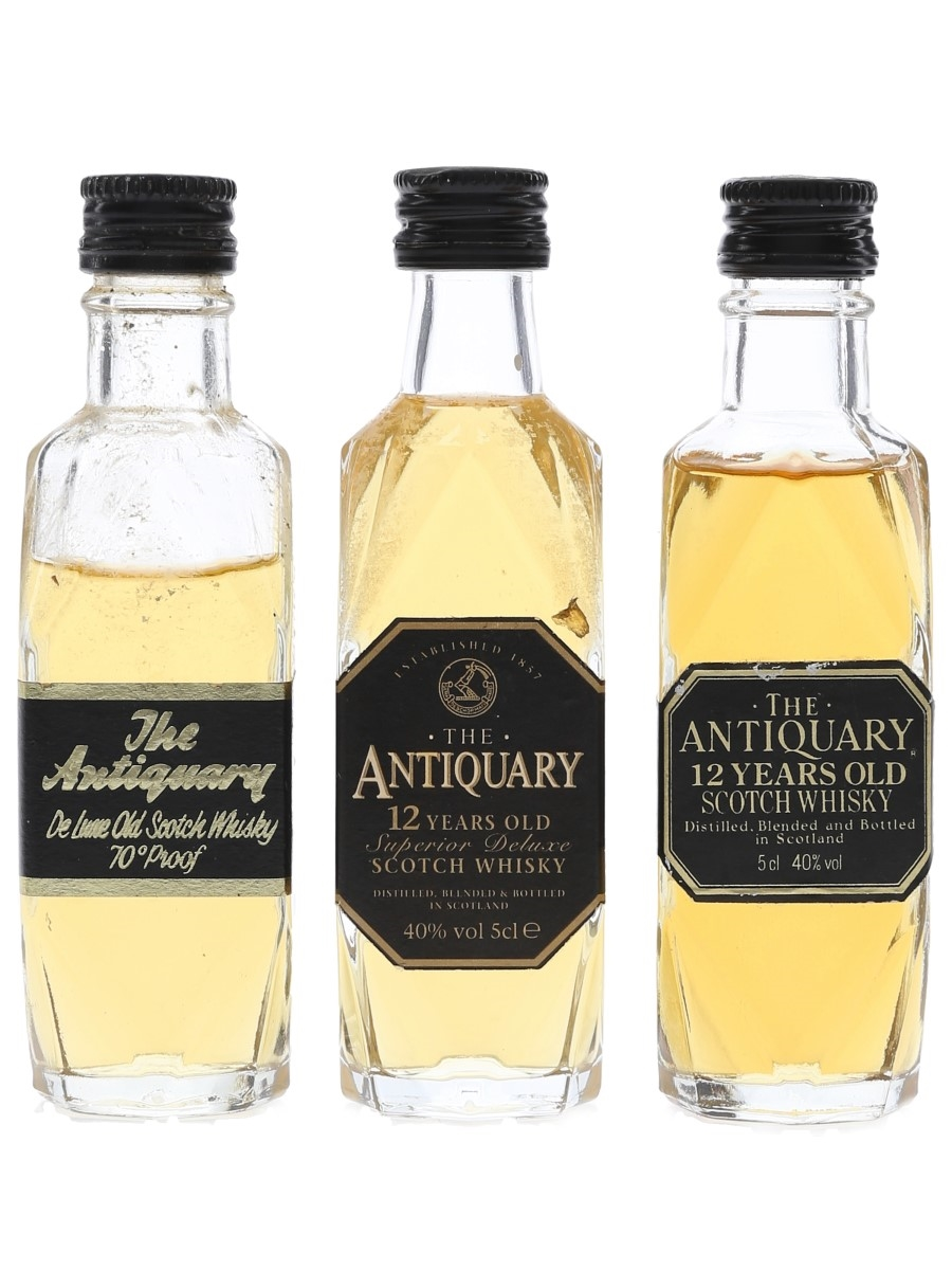 Antiquary 12 Year Old & De Luxe Bottled 1970s-1990s 3 x 5cl / 40%