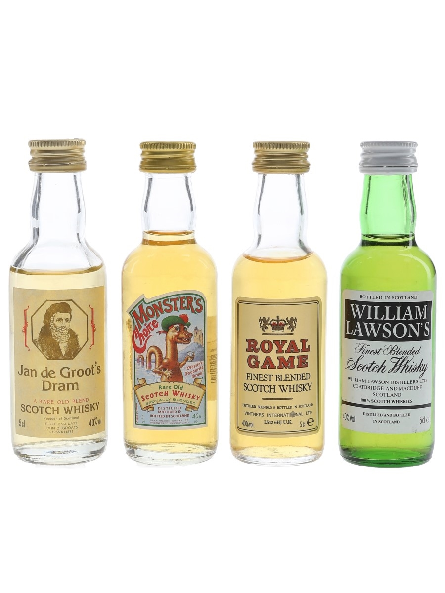 Assorted Blended Whisky Jan O'Last, Monster's Choice, Royal Game & William Lawson 4 x 5cl / 40%