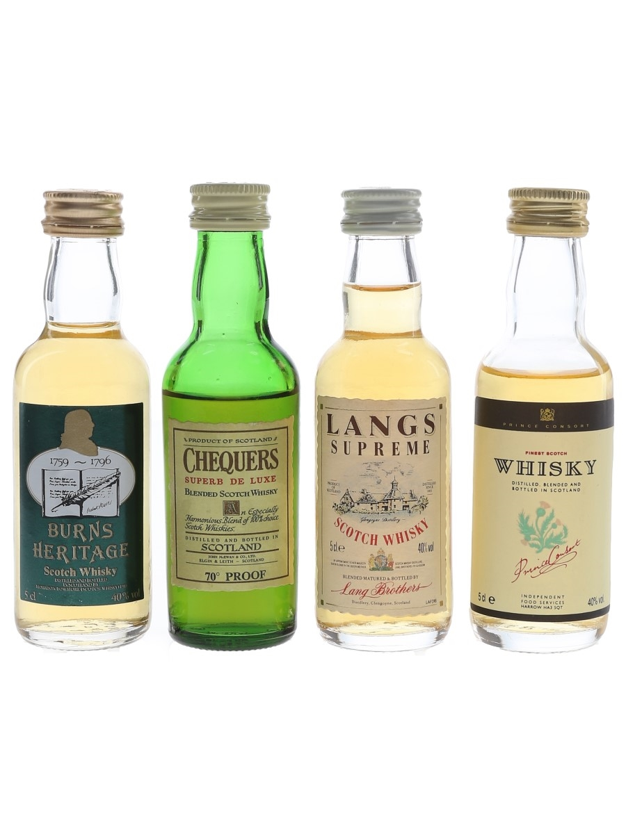 Assorted Blended Whisky Burns Heritage, Chequers, Langs & Price Connsort 4 x 5cl / 40%