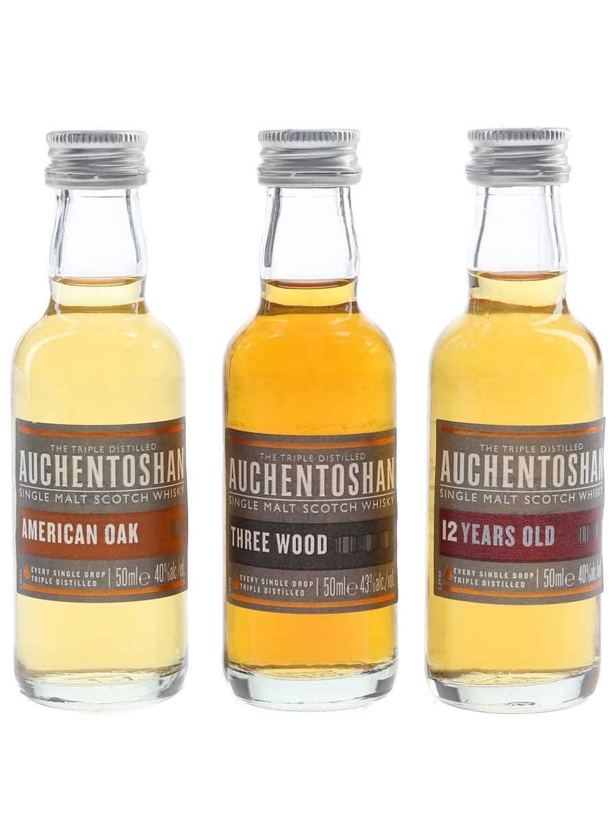 Auchentoshan 12 Year Old, Three Wood & American Oak  3 x 5cl
