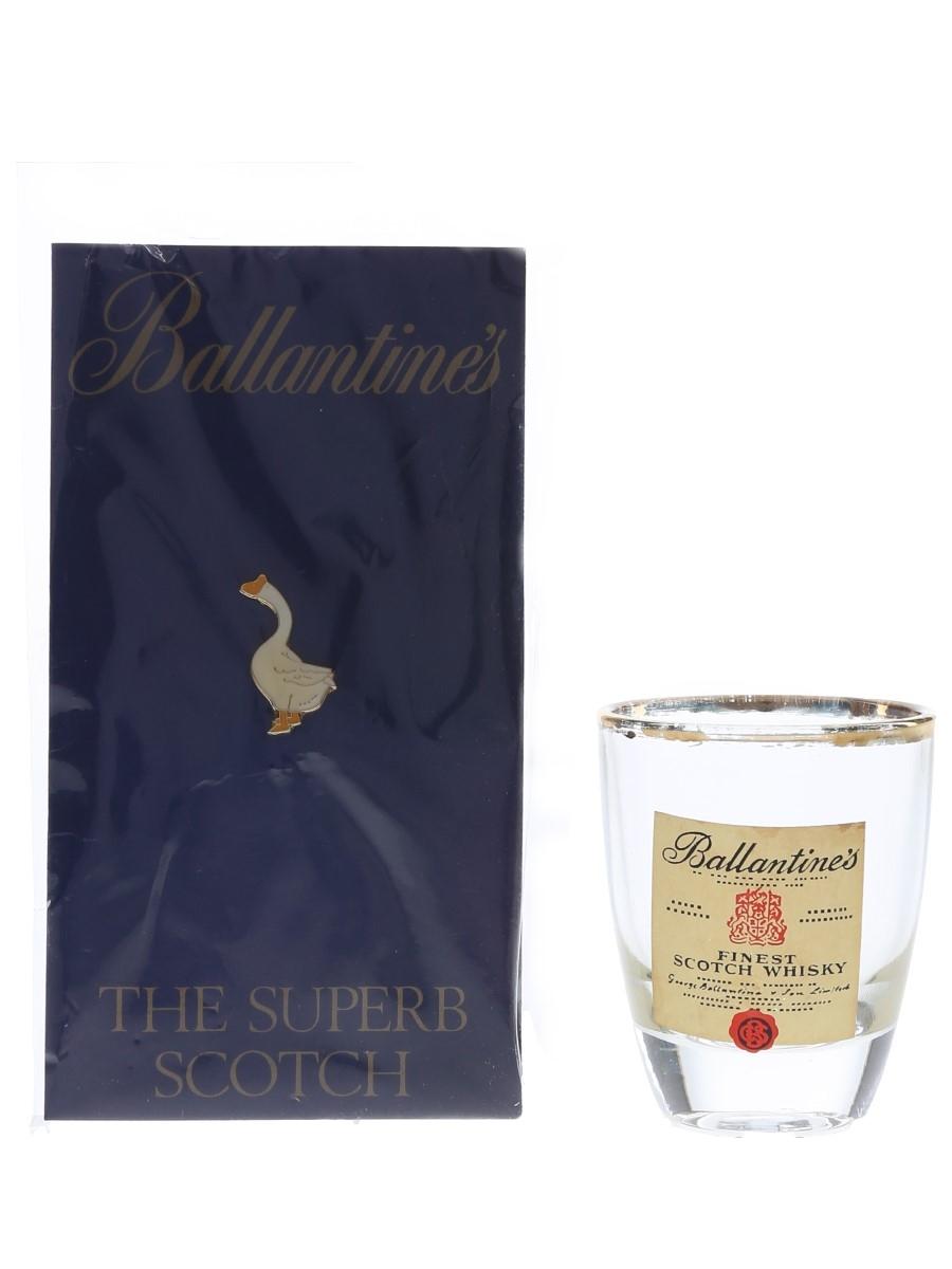 Ballantine's Shot Glass & Pin Badge