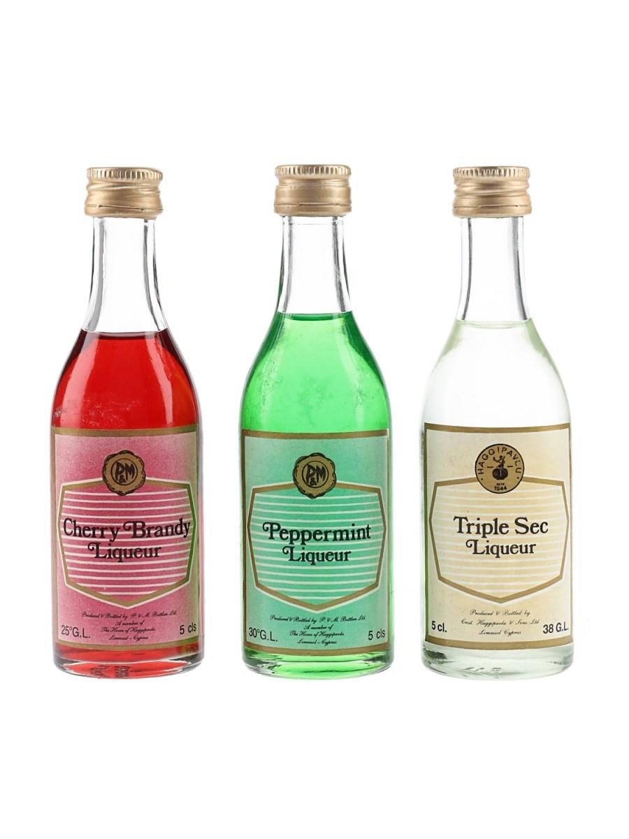 Haggipavlu Cherry Brandy, Peppermint, Triple Sec Liqueurs  3 x 5cl