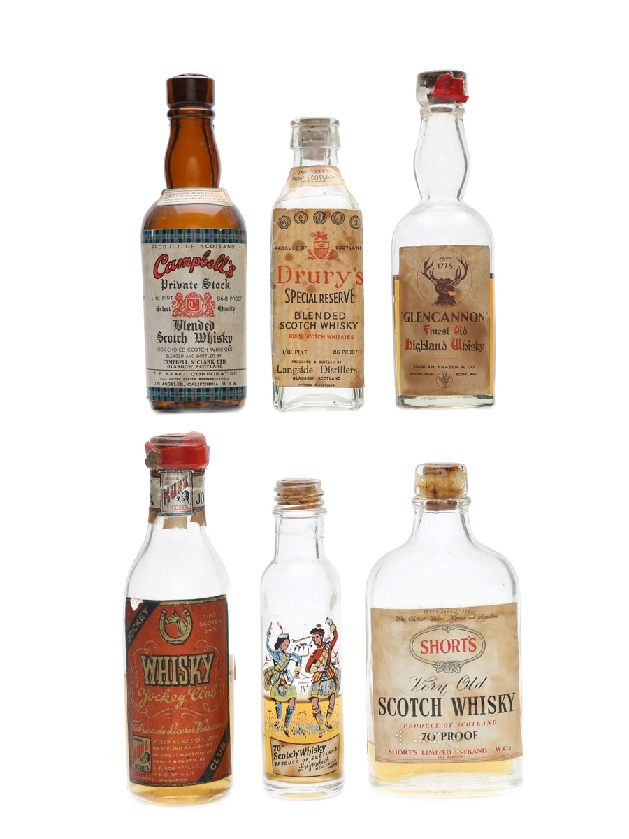 Assorted Blended Scotch Whisky Bottled 1950s 6 x 5cl