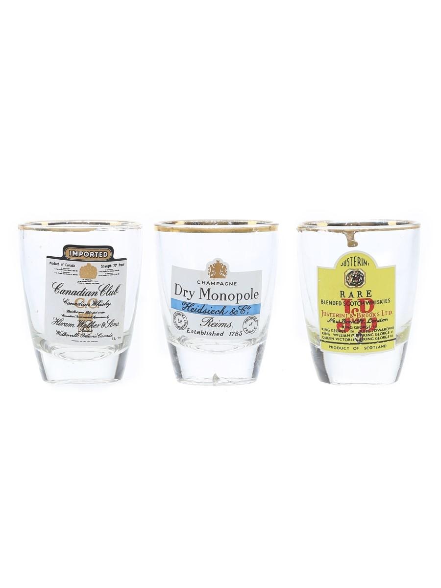 Assorted Shot Glasses Canadian Club, J & B, Heidsieck & Co.
