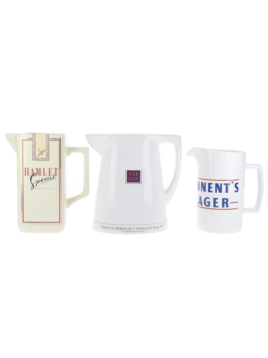 Assorted Water Jugs Hamlet, Silk Cut, Tennent's