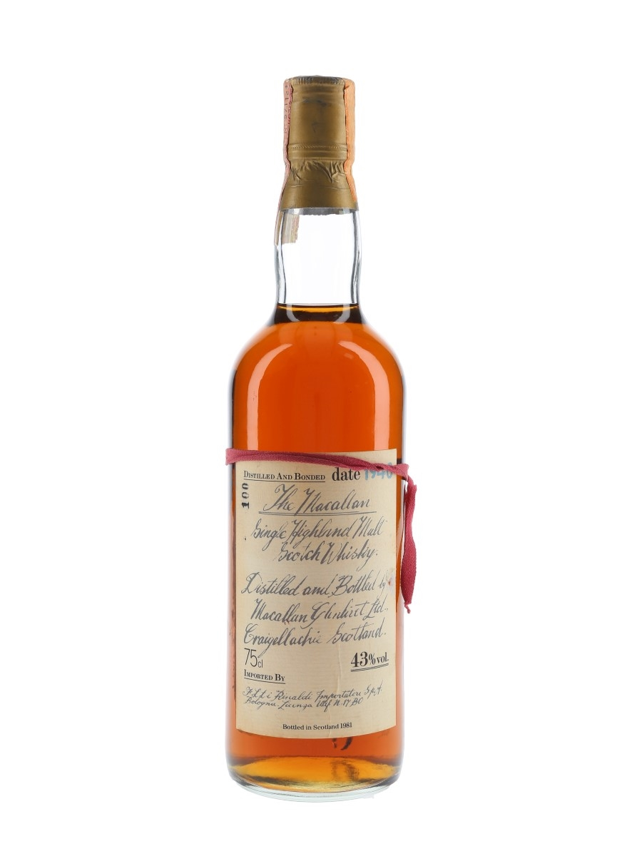 Macallan 1940 Handwritten Label Bottled 1981 - Bottle Number 100 75cl / 43%
