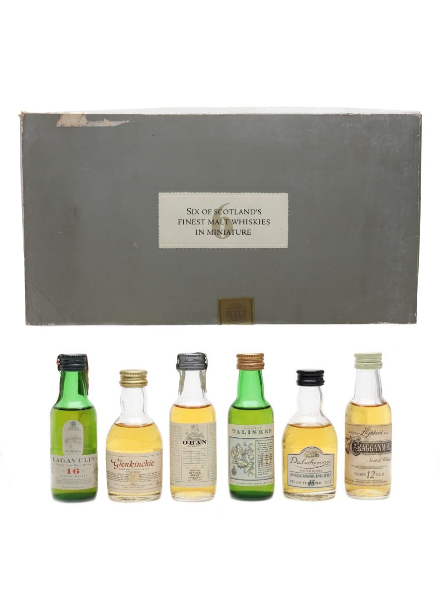 United Distillers Classic Malts Miniatures Set Lagavulin (White Horse Distillers), Glenkinchie, Oban, Talisker, Dalwhinnie, Cragganmore 6 x 5cl