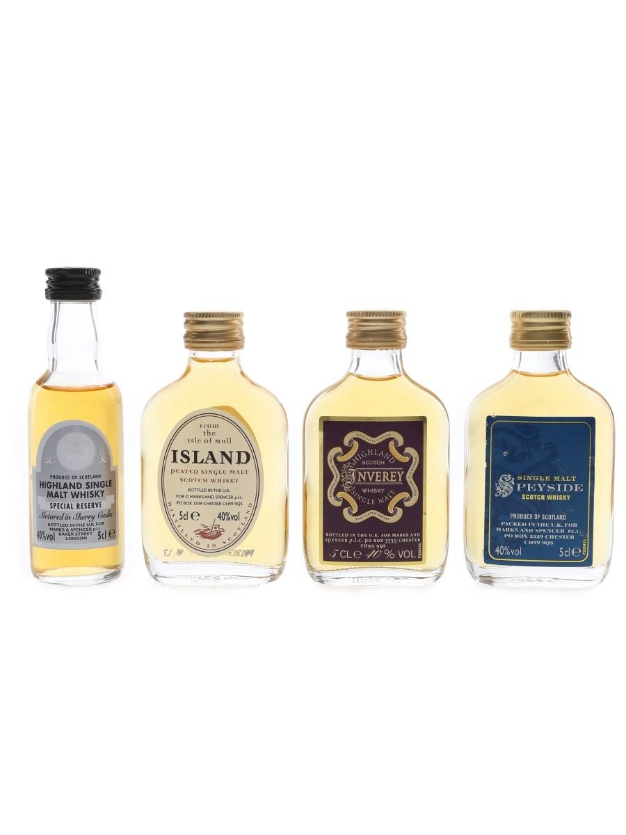 Marks & Spencer Scotch Whisky Highland, Inverey, Island & Speyside 4 x 5cl / 40%