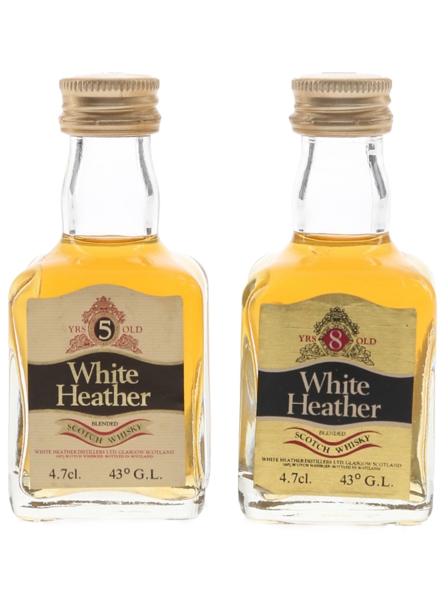 White Heather 5 & 8 Year Old Bottled 1970s 2 x 4.7cl / 43%
