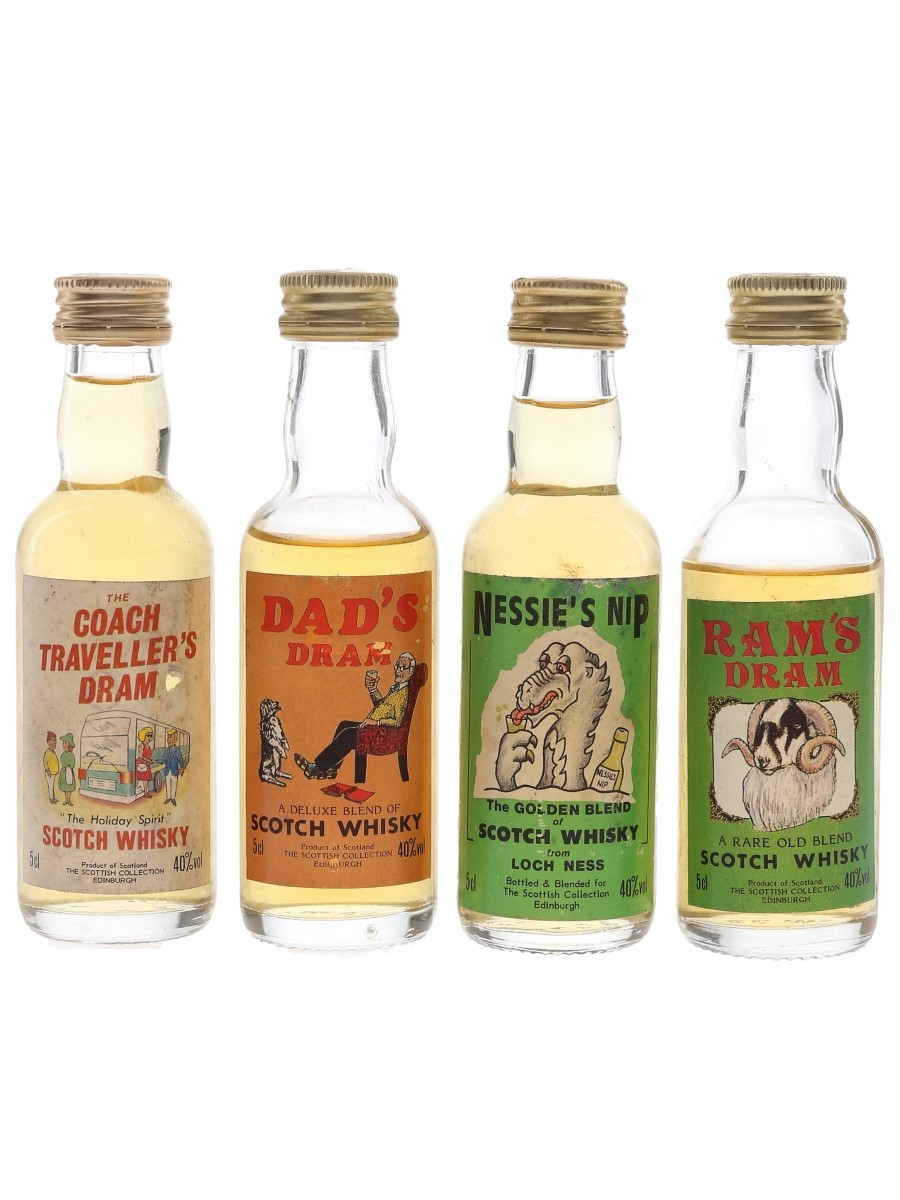 Scottish Collection Scotch Whisky The Coach Traveller's Dram, Dad's Dram, Nessie's Nip & Ram's Dram 4 x 5cl / 40%