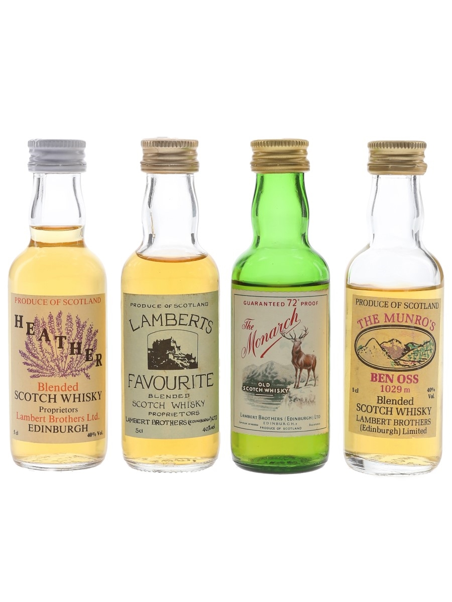Lambert Brothers Blended Whisky Heather, Lamberts Favourite, Monarch & Munro's Ben Oss 4 x 5cl