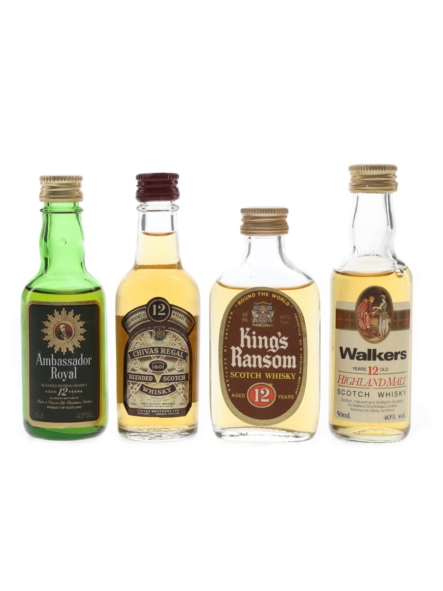 Assorted 12 Year Old Blended Whisky Bottled 1970s & 1980s 4 x 4cl-5cl