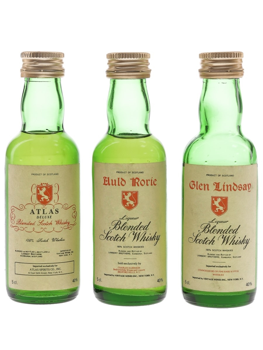 Lambert Brothers Blended Whisky Glen Lindsay, Auld Rorie & Atlas - US Imports 3 x 5cl / 40%