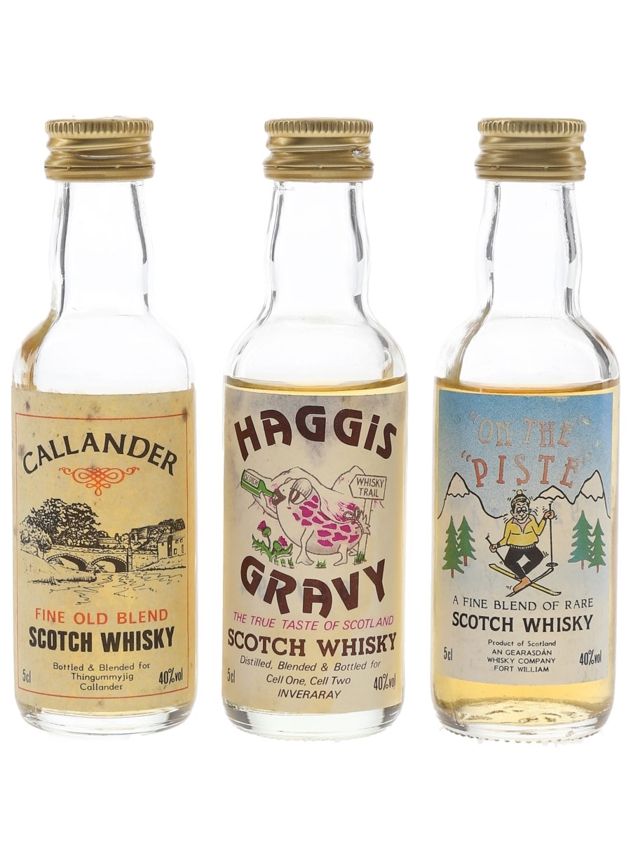 Assorted Blended Scotch Whisky Callander, Haggis Gravy & On The Piste 3 x 5cl / 40%
