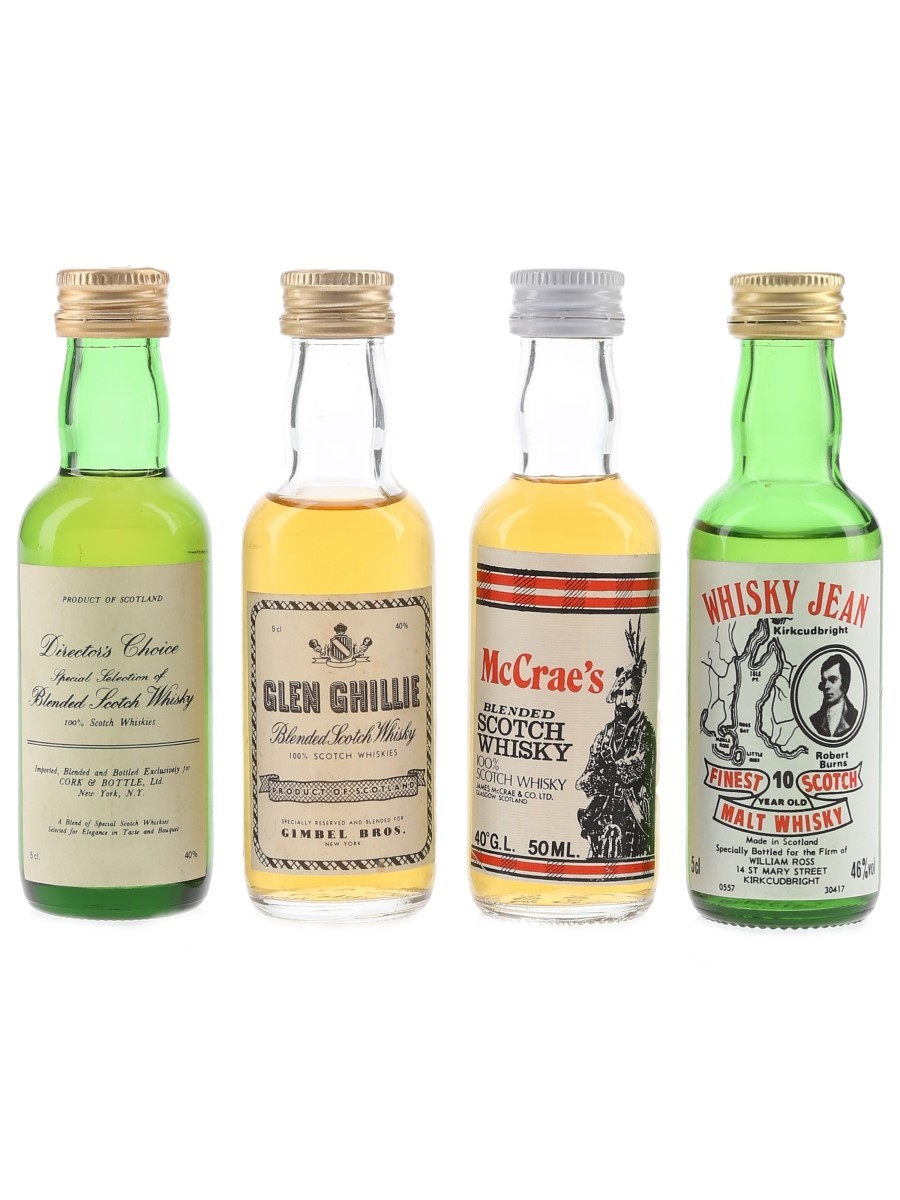 Assorted Blended Whisky Director's Choice, Glen Ghillie, McCrae's & Whisky Jean 4 x 5cl