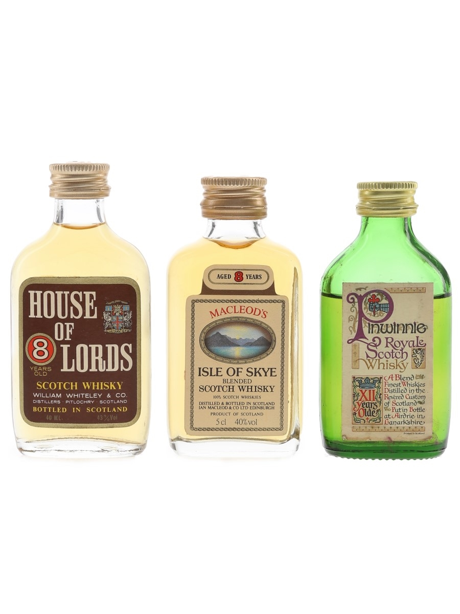 House Of Lords, Macleod's 8 Year Old & Pinwinnie 12 Year Old Bottled 1980s 3 x 4cl-5cl