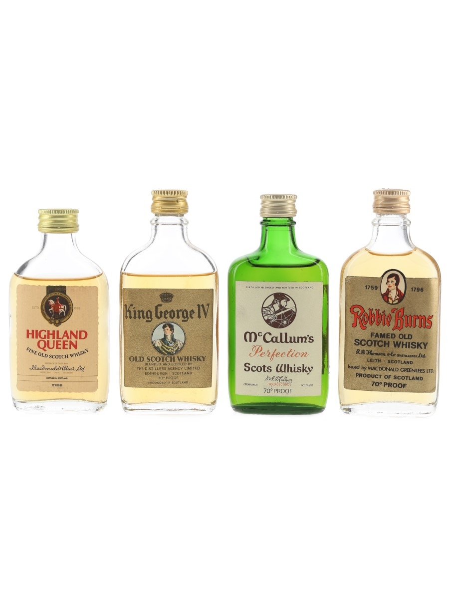 Highland Queen, King George IV, McCallum's & Robbie Burns Bottled 1970s 4 x 5cl / 40%